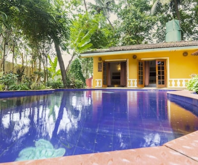 Pet-friendly villa with a pool, walking distance from Club Cubana,Goa