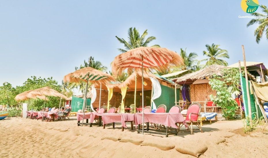 Thatched-roof hut for a couple on Agonda Beach, Agonda,