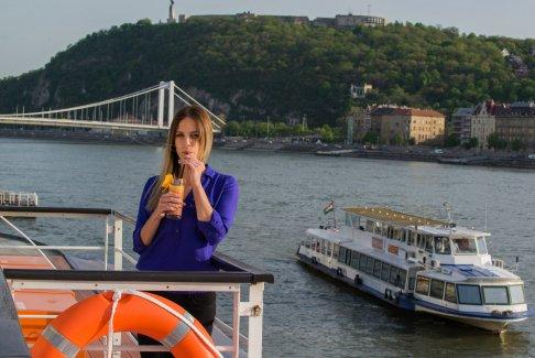 Cocktail and Cold Drink while on Cruise along the Scenic Danube River in Budapest, Hungary